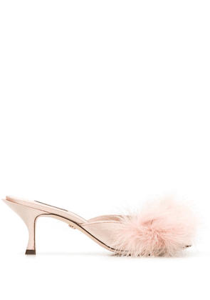 Dolce & Gabbana faux-feather mules - Pink