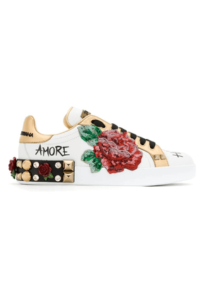Dolce & Gabbana rose patch leather sneakers - White
