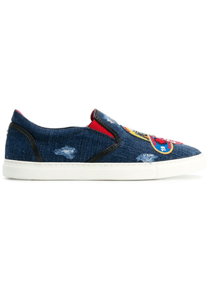 Dsquared2 patch embroidered denim sneakers - Blue