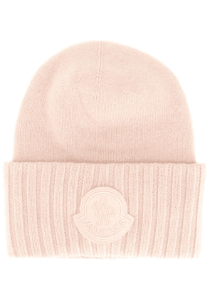 Moncler logo patch beanie - Pink