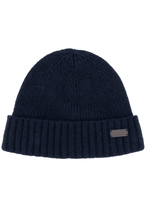 Barbour logo patch ribbed hat - Blue