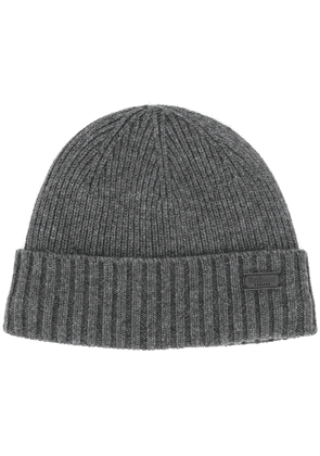 Barbour logo patch ribbed hat - Grey
