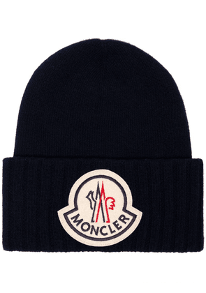 Moncler Berretto logo-embroidered beanie hat - Blue