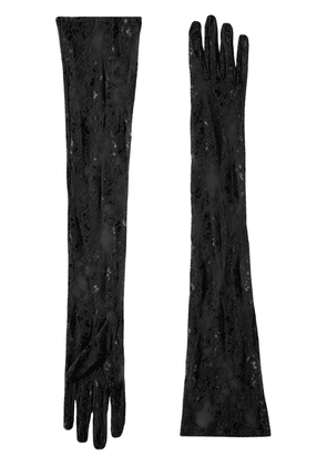 Gucci long embroidered tulle gloves - Black