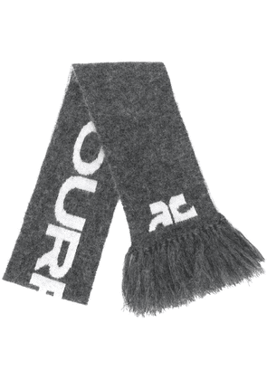 Courrèges logo print knit scarf - Grey