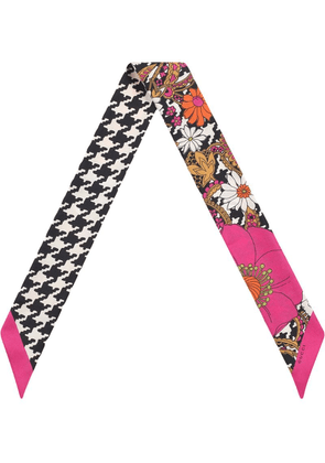 Gucci Silk neck bow with retro flowers and houndstooth - Pink