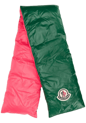 Moncler puffer-style logo patch scarf - Green