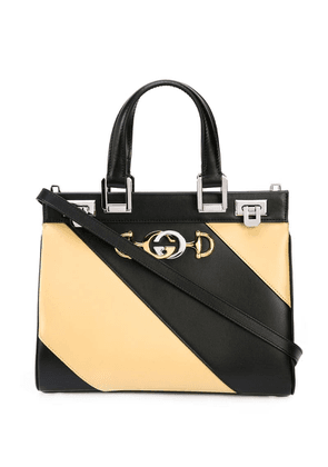 Gucci Zumi diagonal stripe top handle bag - Black