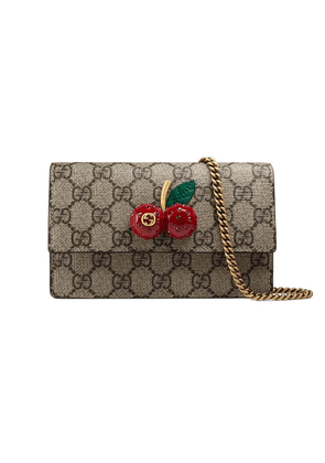 Gucci GG Supreme mini bag with cherries - Neutrals