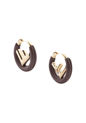 Fendi logo hoop earrings - Brown