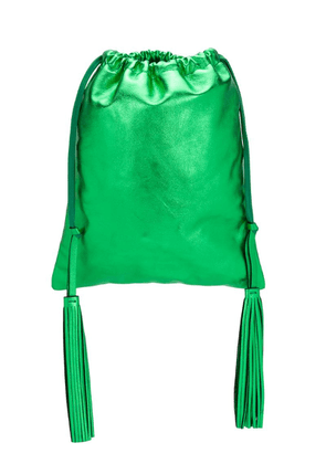 Attico leather metallic bucket bag - Green