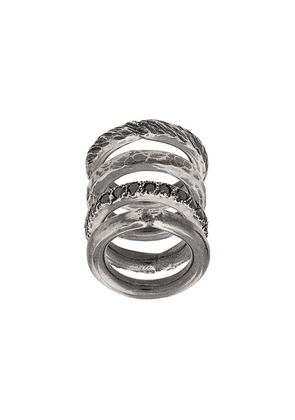 Chin Teo stacked embellished rings - Metallic