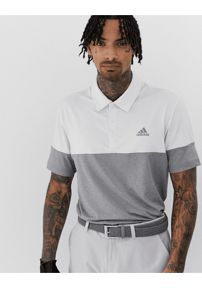 Adidas Golf Ultimate 365 heather block polo in grey