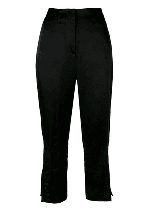 Fendi cropped embroidered trousers - Black