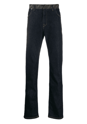 Fendi monogram waist straight jeans - Blue