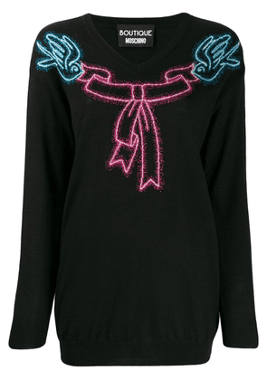 Boutique Moschino bow jumper - Black
