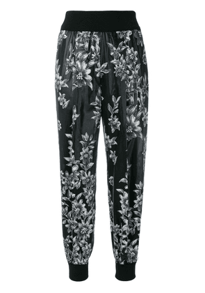 Fendi floral tapered trousers - Black