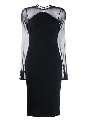 Victoria Beckham sheer sleeves fitted dress - Black