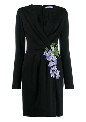 Blumarine floral-embroidered wrap dress - Black