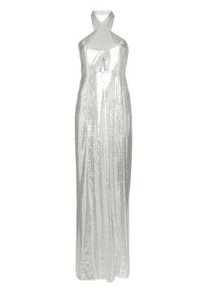 Galvan sequin-embellished maxi dress - Silver