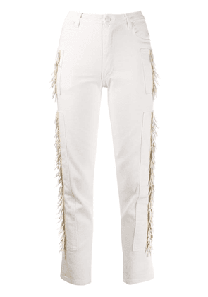 Eckhaus Latta fringed sides straight jeans - White