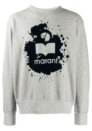 Isabel Marant slash logo print sweatshirt - Grey