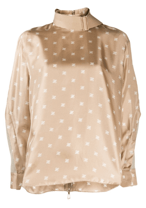 Fendi Karligraphy print woven sleeves blouse - Neutrals