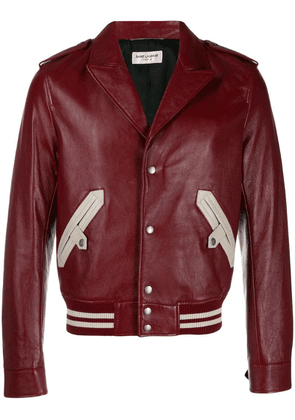 Saint Laurent notched collar bomber jacket - Red