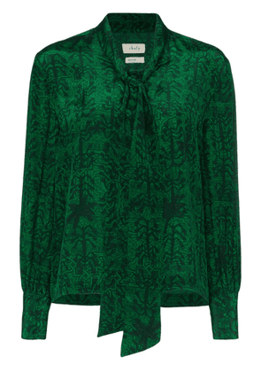 Chufy printed tie-neck blouse - Green