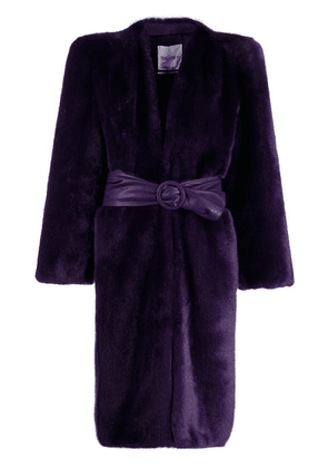 Attico belted faux-fur coat - Purple