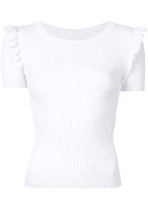 Cinq A Sept frill detail ribbed top - White