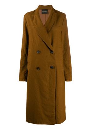 Erika Cavallini long double breasted coat - Brown