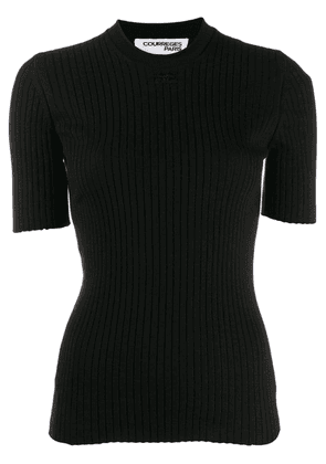 Courrèges short sleeve knitted top - Black