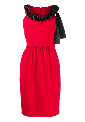 Boutique Moschino chain-embellished crepe dress - Red