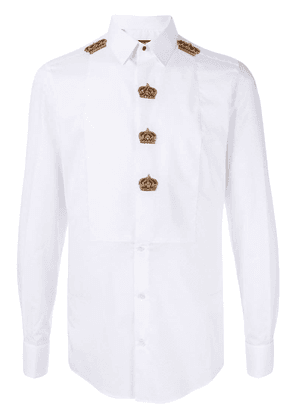 Dolce & Gabbana embroidered crowns shirt - White