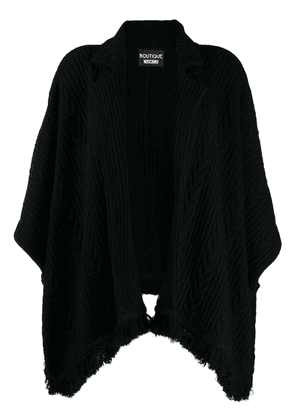 Boutique Moschino ribbed cape-style cardigan - Black