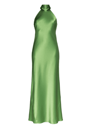 Galvan high neck satin gown - Green