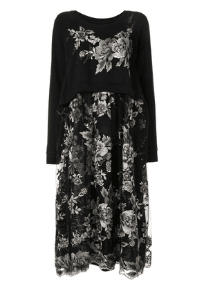 Antonio Marras floral-embroidered layered dress - Black