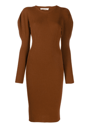 Circus Hotel ribbed knit fitted dress - Brown