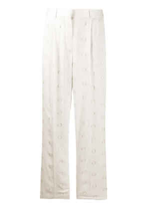 Victoria Beckham metallic dots straight trousers - White