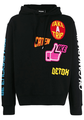 Dsquared2 mix print hoodie - Black