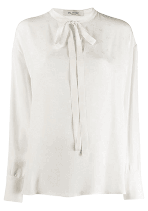 Valentino logo pussy bow blouse - White