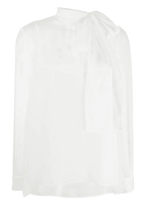 Valentino sheer pussy bow blouse - White