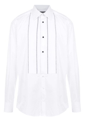 Dolce & Gabbana topstitching detailed bib shirt - White