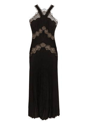 Fendi lace insert pleated gown - Black