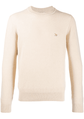 Maison Kitsuné fox patch long sleeved jumper - Neutrals