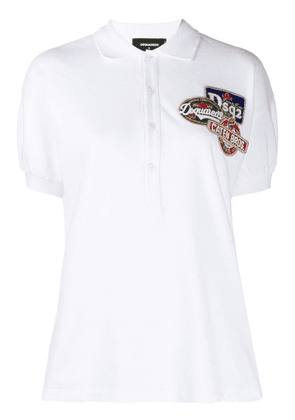 Dsquared2 embellished logo patch polo shirt - White