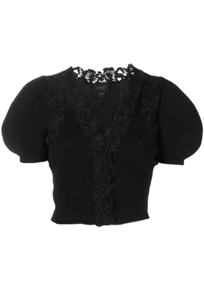 Giambattista Valli floral embroidered trim cropped sweater - Black