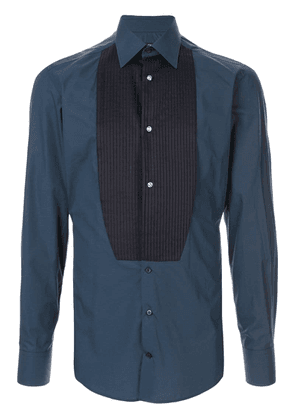 Dolce & Gabbana pleated bib slim shirt - Blue