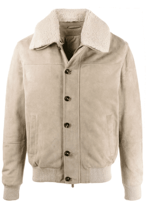 Eleventy slim-fit shearling jacket - Neutrals